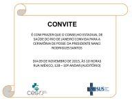 DIA 09 DE NOVEMBRO - CERIMÔNIA DE POSSE DA NOVA PRESIDENTE DO CES/RJ